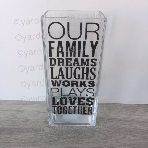 Square shape vase, 'Our Family' Vinyl words